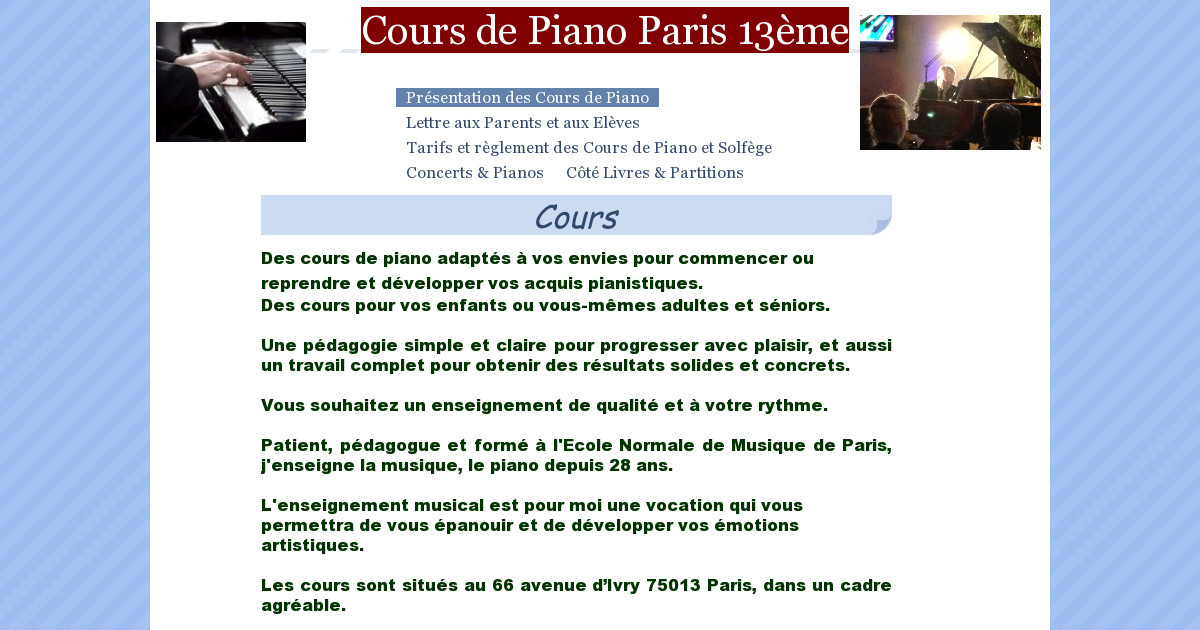 cours de piano paris 13 me pr sentation des cours de piano. Black Bedroom Furniture Sets. Home Design Ideas